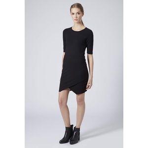 Topshop Wrap Front Bodycon Dress  Black ¾ Sleeve